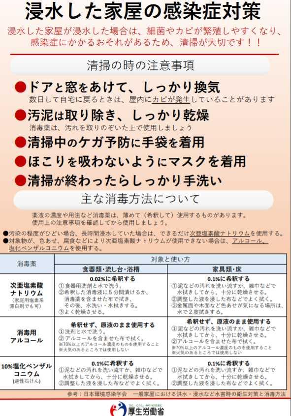 【台風19号】水害、床上浸水後の家屋・家財の消毒方法と気をつけるべき感染症対策!体験まとめ3