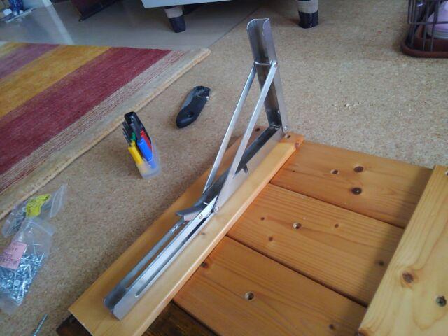 【DIY】窓下壁面、折り畳み式棚受けを利用したカウンター作り方2「棚板を完成させよう!」11