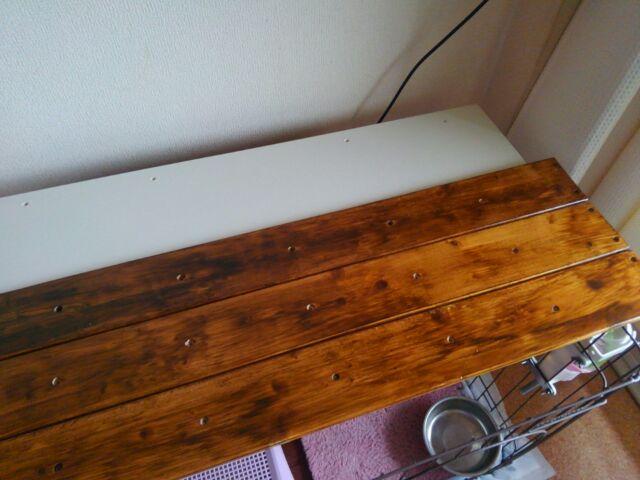 【DIY】窓下壁面、折り畳み式棚受けを利用したカウンター作り方2「棚板を完成させよう!」1